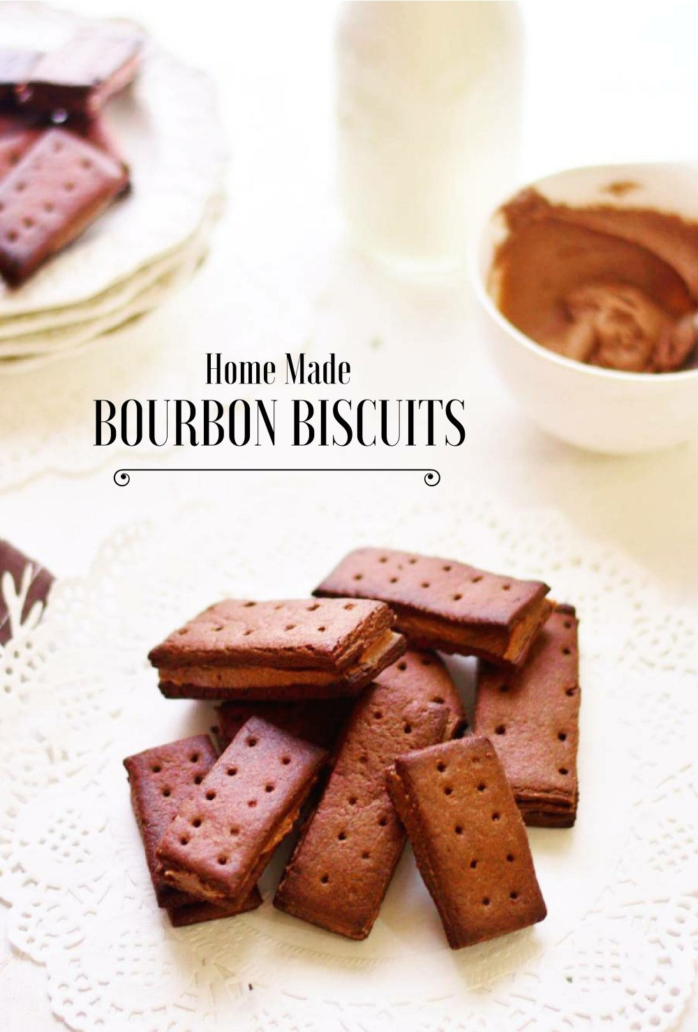 The Bourbon biscuit sometimes referred to as a Bourbon cream is a sandwich style biscuit consisting of two thin rectangular dark chocolate–flavored biscuits with a chocolate buttercream filling.