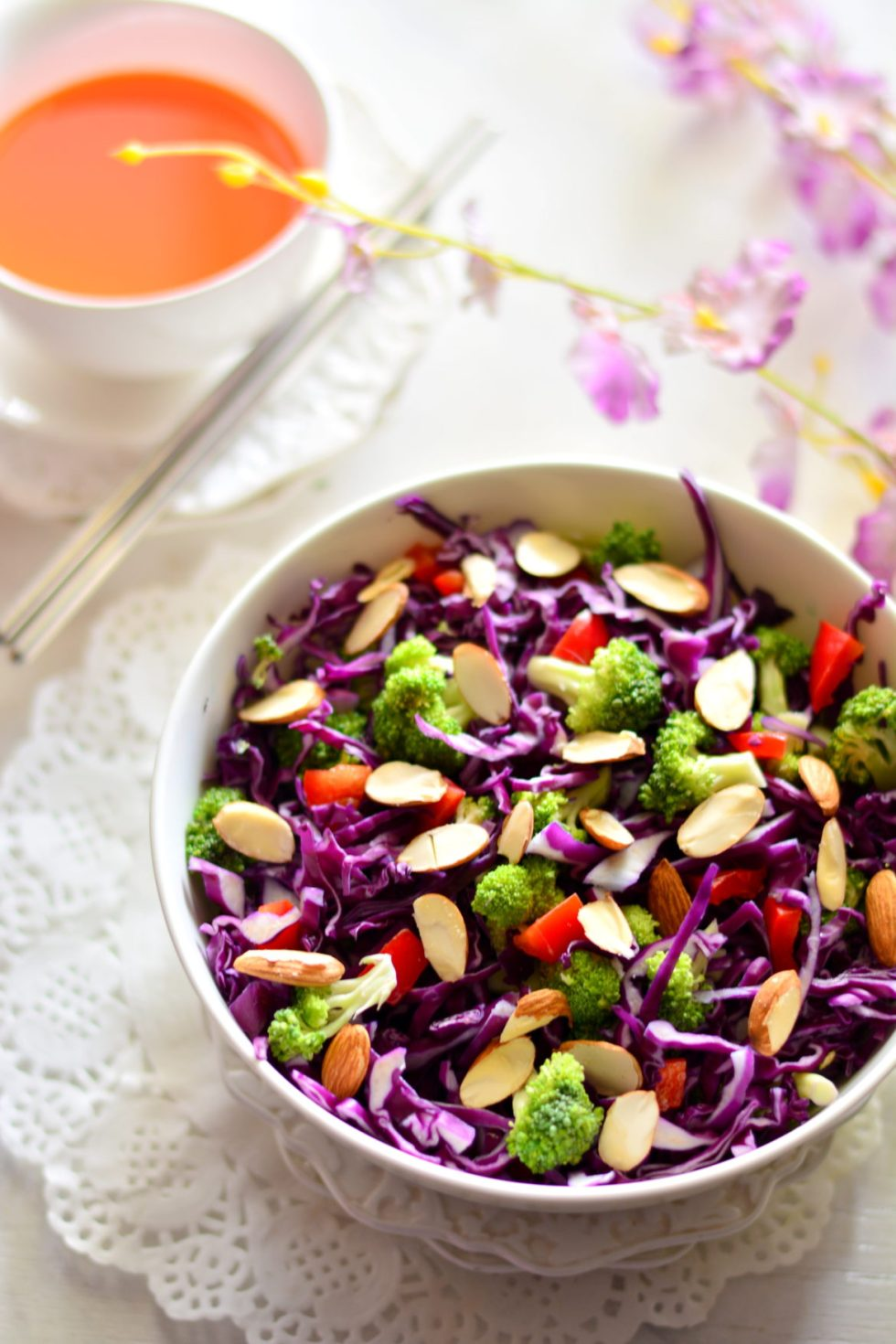 Purple Cabbage & Broccoli Salad with Miso Orange & Almond Dressing