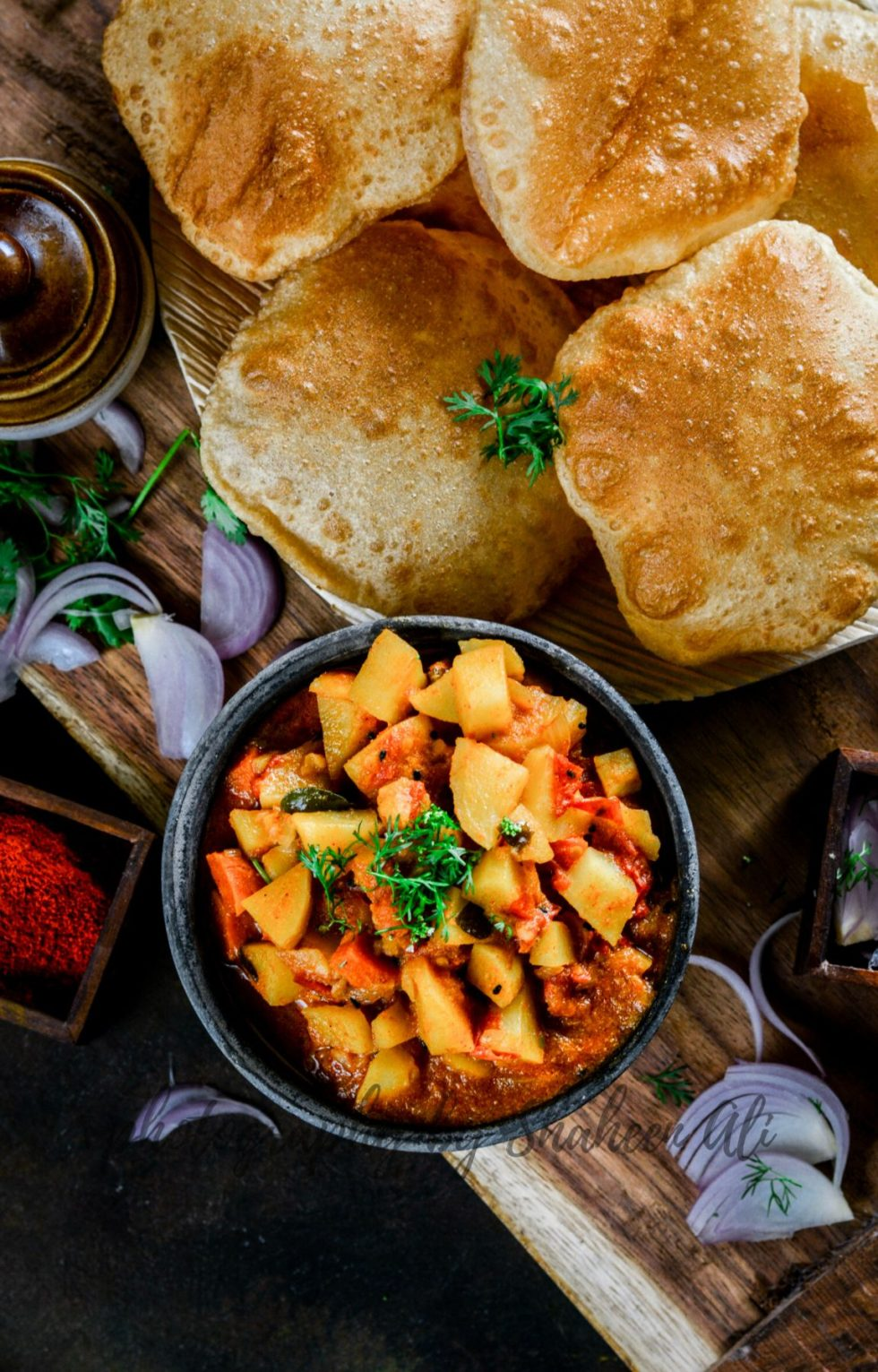 Kattey Aloo with Puri