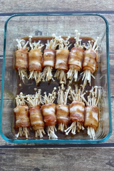 Bacon-Wrapped Enoki Mushrooms   SpoonfulOfButter.com