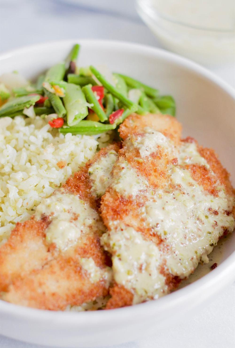 Fish with Creamy Garlic Pesto Rice Bowl