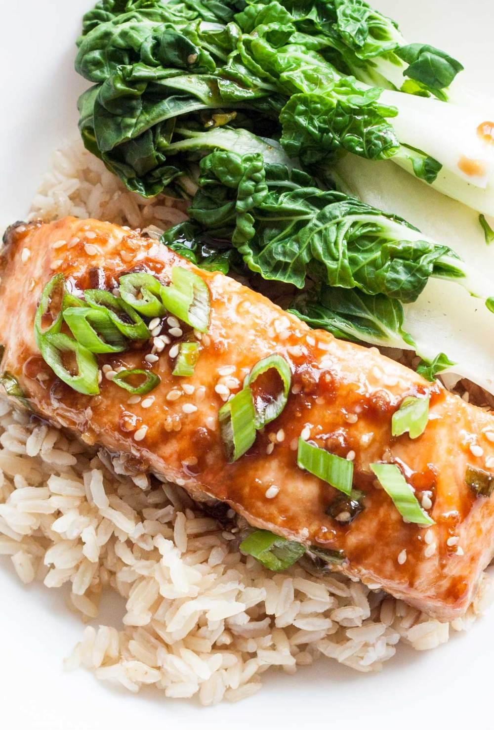 Honey Ginger Glazed Salmon with Bokchoy