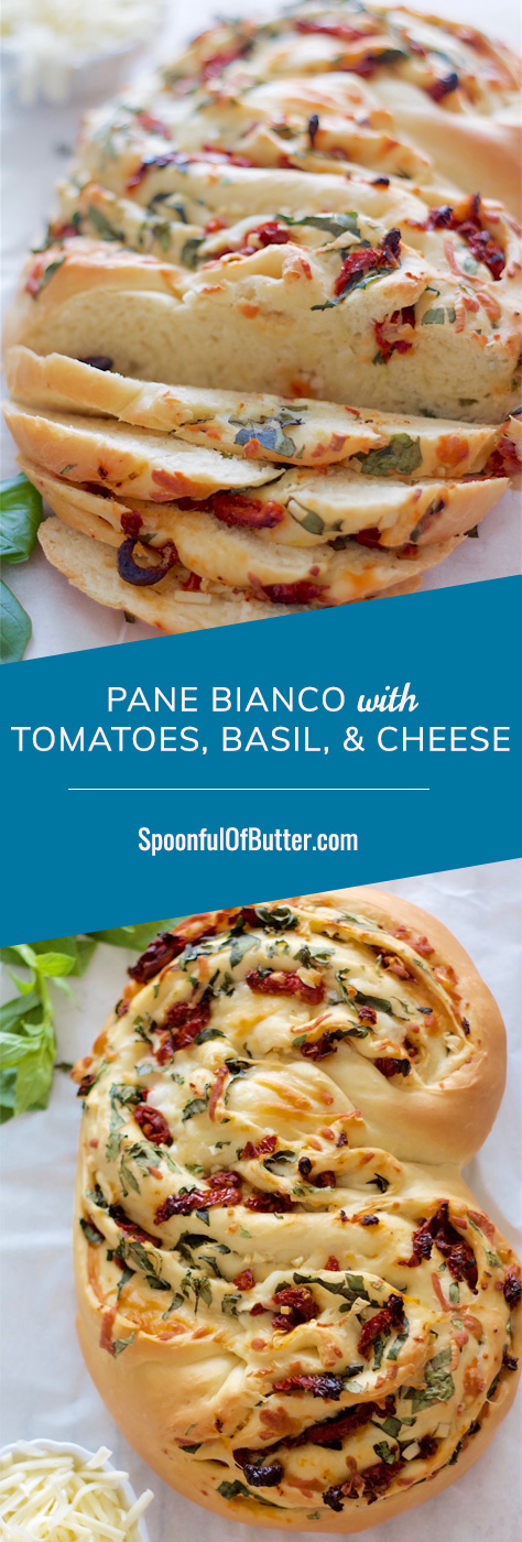 White bread filled with fresh basil, garlic, cheese, and sundried tomatoes. Can easily change the fillings - ham bits, sausage, onions, red pepper, green olives, or your preferred cheese blend.