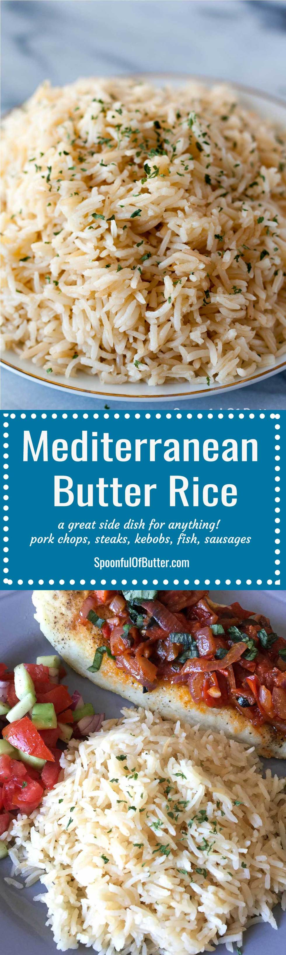 This butter rice goes well with anything – from pork chops, steaks, fish, kebobs, souvlakis, sausages, fried chicken. Has just the right hint of butter and lots of extra flavor from the stock. Up the ante of any dish by serving it with Meditteranean butter rice on the side!