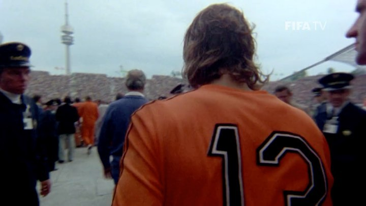 Johan Neeskens walking on to the pitch for the 1974 FIFA  final.   ...