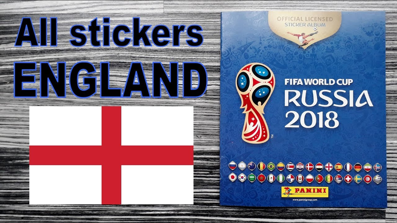 "Complete ENGLAND stickers in Panini FIFA World Cup Album ""Russia 2018"" Rework 2020"