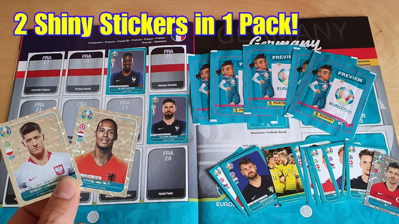 2 SHINY STICKERS IN 1 PACK!!!   UEFA Euro 2020 Preview Panini Sticker Album Unboxing