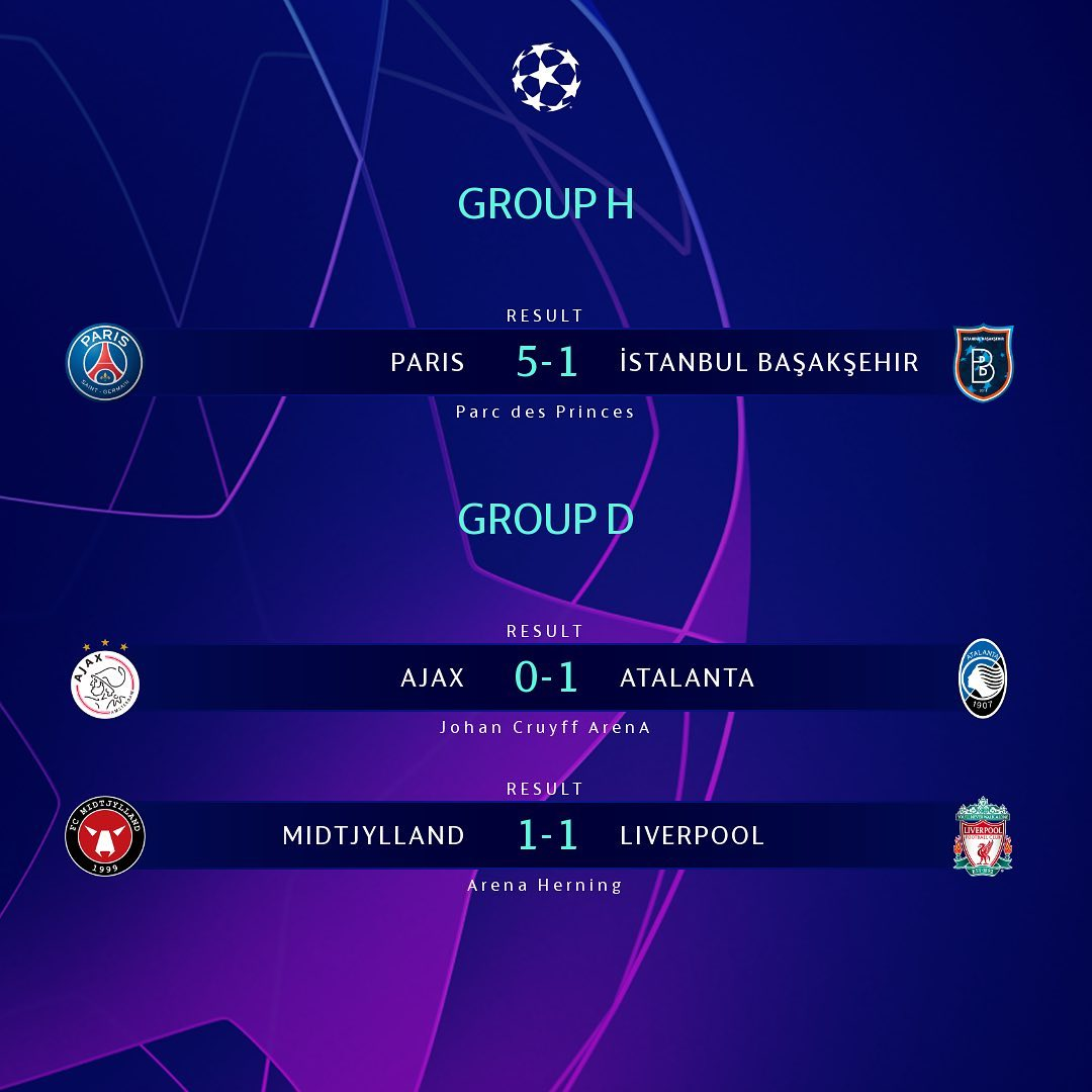 Atalanta beat Ajax to qualification, Paris through as group winners   ...