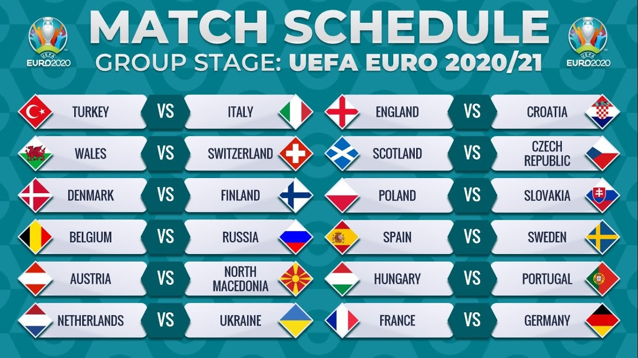 MATCH SCHEDULE: UEFA EURO 2020/2021 - GROUP STAGE FIXTURES