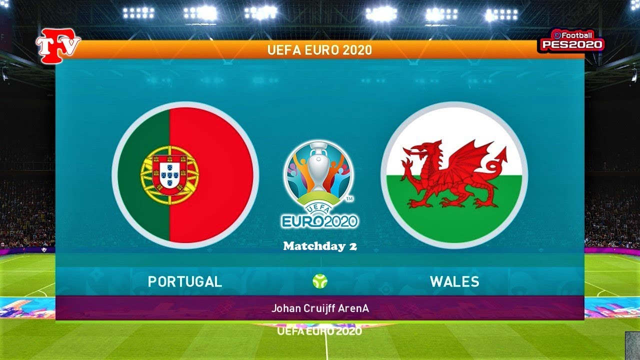 PES 2020 | PORTUGAL vs WALES | UEFA EURO 2020 (Matchday 2) | Gameplay PC