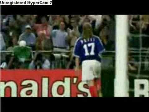 Petit scores the final goal against brazil. worldcup 1998