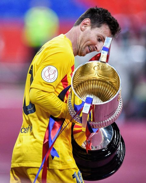 3& trophies for Leo Messi with Barcelona       ...