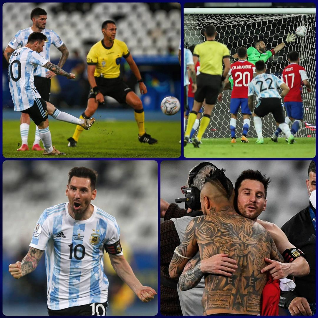 Best free-kick taker in football?   with a  in Argentina's 1-1 draw with Chile....