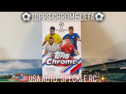 BRAND NEW 2020-21 Topps Chrome UEFA Champions League Hobby Box! Top RC Speckle, American Autogragh!!