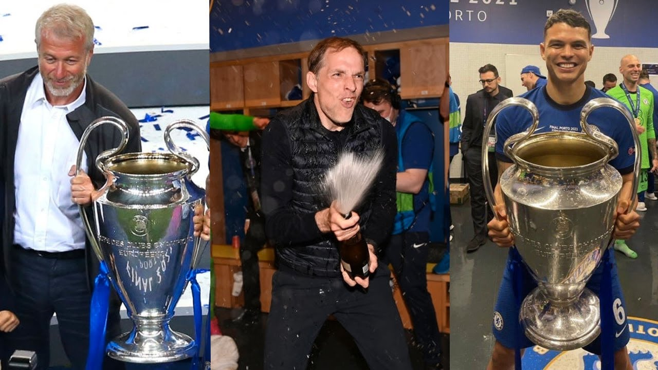 Chelsea Players And Thomas Tuchel Celebrate Champions League Trophy Lift?