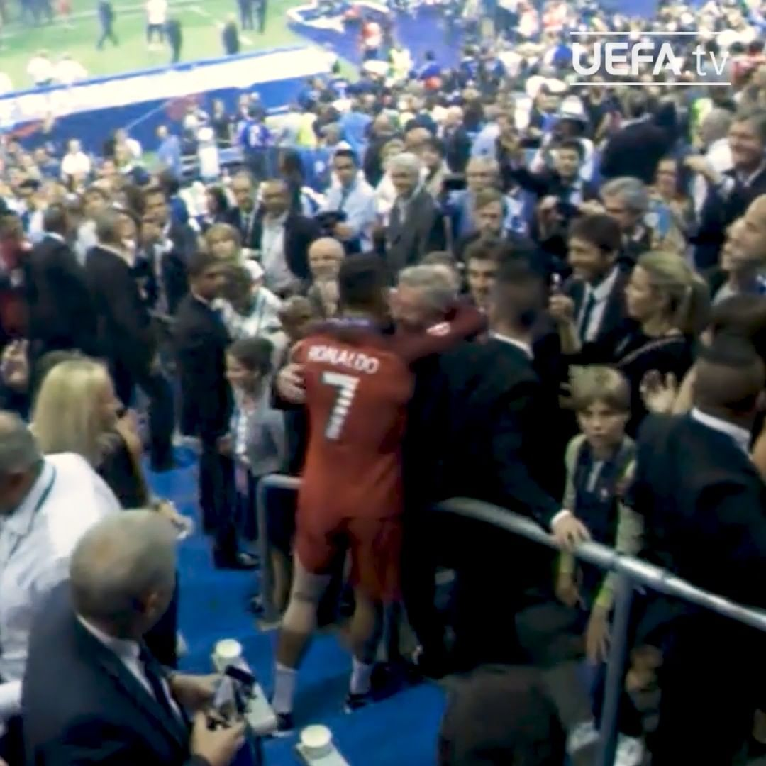 Reunited in Manchester  Ronaldo and Sir Alex Ferguson embrace after the EURO 201...