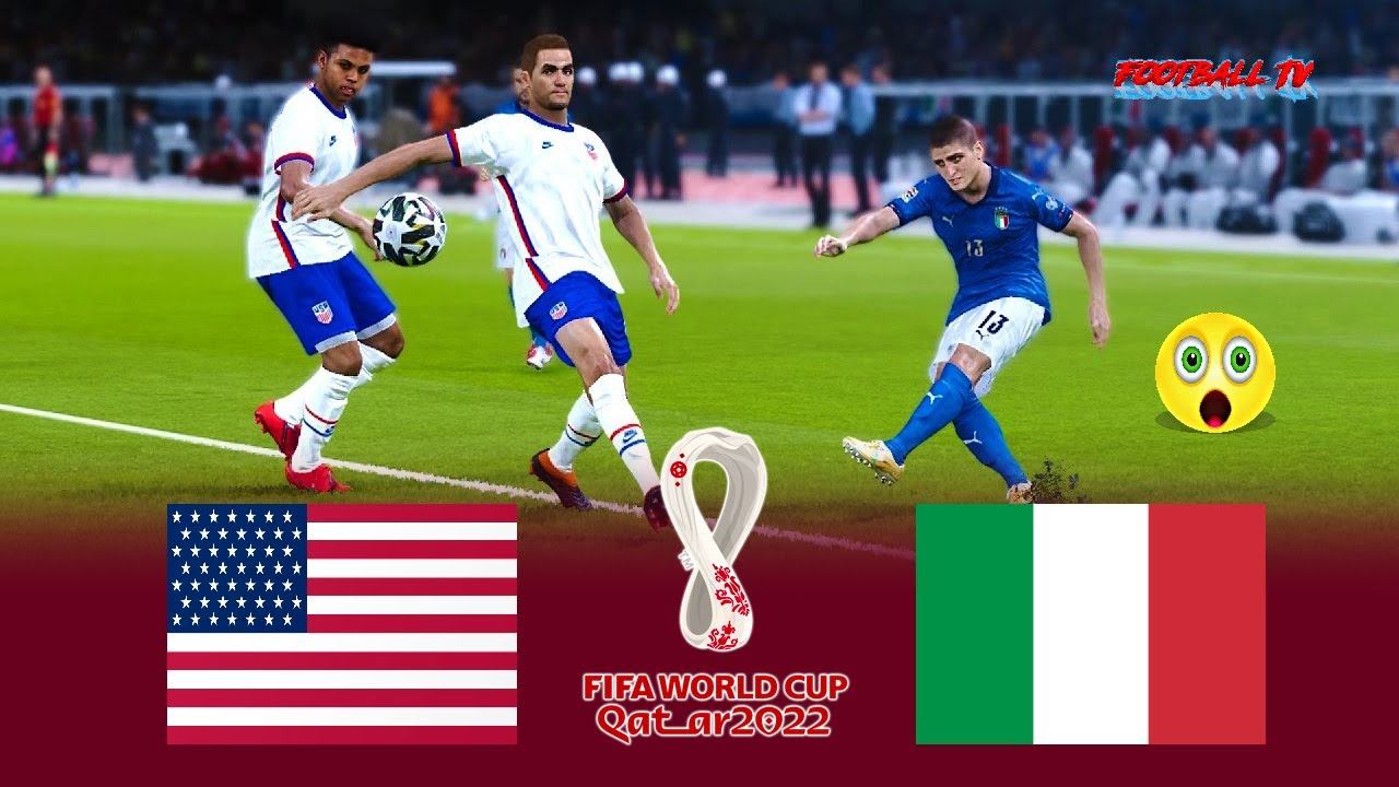 USA vs ITALY - FIFA World Cup 2022 - Full Match All Goals - eFootball PES 2021 Gameplay