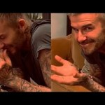 Beckham reacts to his 2002 World Cup qualifying goal