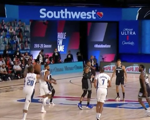 lets it fly to beat the buzzer! ...