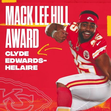 Our Mack Lee Hill Award winner this year for most outstanding rookie is Clyde Ed...
