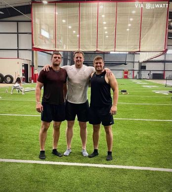The Watt brothers gearing up for another season.  (via ...