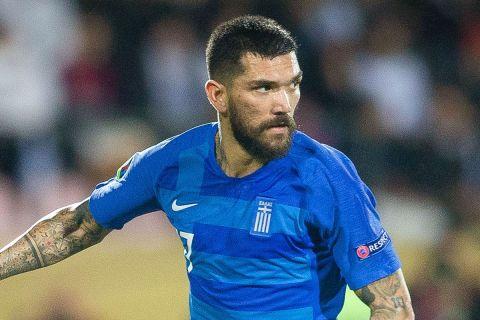 Ο Δημήτρης Κολοβός της Ελλάδας σε στιγμιότυπο της αναμέτρησης με τη Φινλανδία για τους προκριματικούς ομίλους του Euro 2020 στο Στάδιο του Τάμπερε | Πέμπτη 5 Σεπτεμβρίου 2019