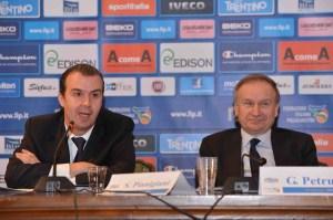 Pianigiani e Petrucci in occasione della conferenza stampa di Siena