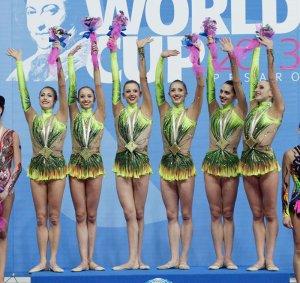 Le farfalle azzurre sul podio della Coppa del Mondo Ritmica di Pesaro
