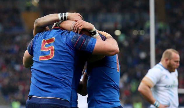 Italia Francia Sei Nazioni 2015, RBS 6 Nations Championship, Stadio Olimpico, Rome, Italy 15/3/2015 Italy vs France France's Yoann Maestri celebrates the first try of the game with Yoann Huget and Gaël Fickou Mandatory Credit ©INPHO/Ryan Byrne