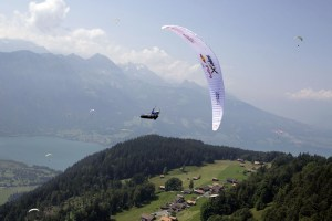 Christian Maurer (SUI1) performs during the Red Bull X-Alps at Interlaken, Switzerland on July 11th, 2013