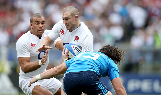 RBS 6 Nations Championship Round 2, Stadio Olimpico, Rome, Italy 14/2/2016 Italy vs England England's Mike Brown with Michele Campagnaro of Italy Mandatory Credit ©INPHO/Dan Sheridan
