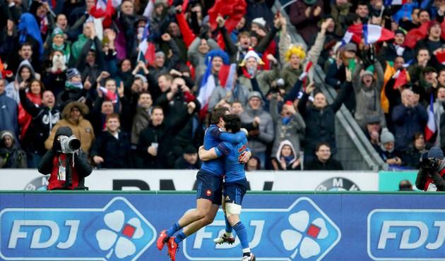 France vs Ireland France's Maxime Medard celebrates his try with Maxime Machenaud Mandatory Credit ©INPHO/Billy Stickland