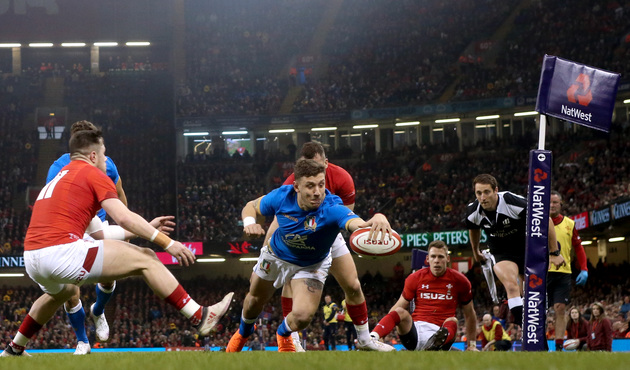 NatWest 6 Nations Championship Round 4, Principality Stadium, Wales 11/3/2018 Wales vs Italy Italy's Matteo Minozzi scores a try Mandatory Credit ©INPHO/James Crombie