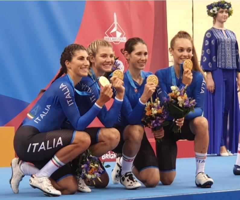 Minsk2019 ciclismo: vola il quartetto rosa, argento per uomini e Fidanza