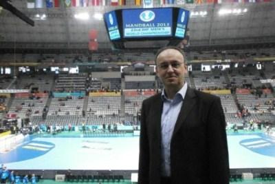 Handball-WM: SPORT4Final-Redakteur Frank Zepp im Palau St. Jordi in Barcelona