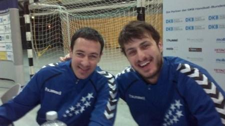 All-Star-Game 2014 in der Arena Leipzig mit Autogrammstunde: Marko Vujin (THW Kiel - l.) und Domagoj Duvnjak (HSV Hamburg) - Foto: SPORT4Final
