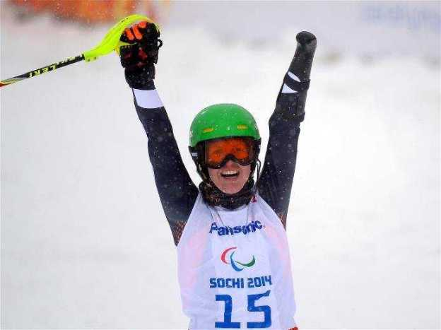 Sotchi 2014 Paralympics: Goldmedaillengewinnerin Andrea Rothfuß im Ziel - Foto: Sotchi 2014 Paralympic Winter Games