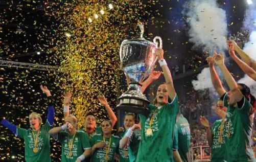 Handball EHF Champions League Women´s Final4 2014 May 4th Budapest/Hungary Final - Buducnost (MNE) vs. Györi Audi ETO KC (HUN) - Winners with Trophy - Foto: EHF Media