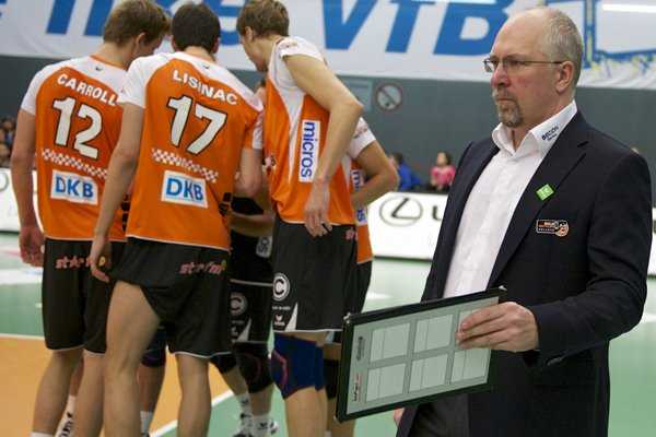 Volleyball-Finale: Sein Team BR Volleys hat zur Meisterform gefunden: Volleys-Coach Mark Lebedew - Foto: Günter Kram (Archiv)