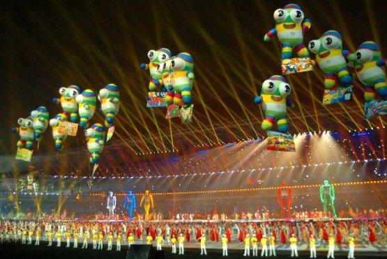 Olympische Jugendspiele Nanjing 2014: Schlussfeier als Fest der Farben, Klänge und Lichter - Das Maskottchen Nanjinglele wurde auch bei der Schlussfeier inszeniert - Foto: DOSB