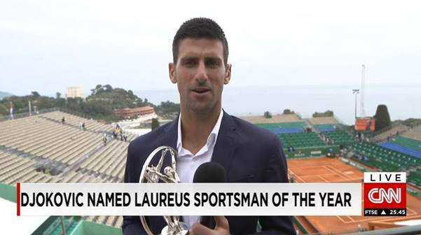 """CNN World Sport: Novak Djokovic über seine Laureus-Trophäe als """"Sportler des Jahres"""" - Foto: CNN International"""