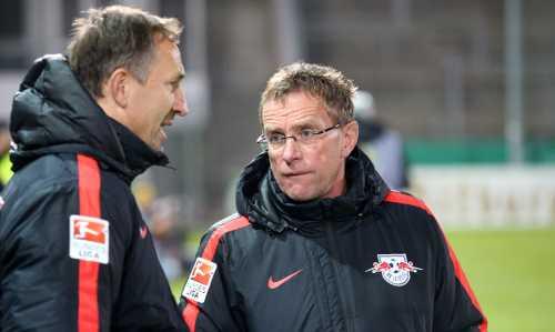 DFB Pokal: SpVgg Unterhaching vs. RasenBallsport Leipzig - Ralf Rangnick und Achim Beierlorzer (RB Leipzig) - Foto: GEPA pictures/Roger Petzsche