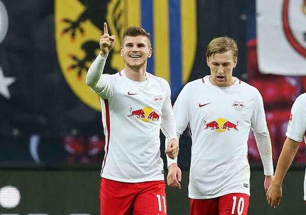 Deutsche Bundesliga, RasenBallsport Leipzig vs. 1. FSV Mainz 05 - Timo Werner und Emil Forsberg (RB Leipzig) - Foto: GEPA pictures/Roger Petzsche