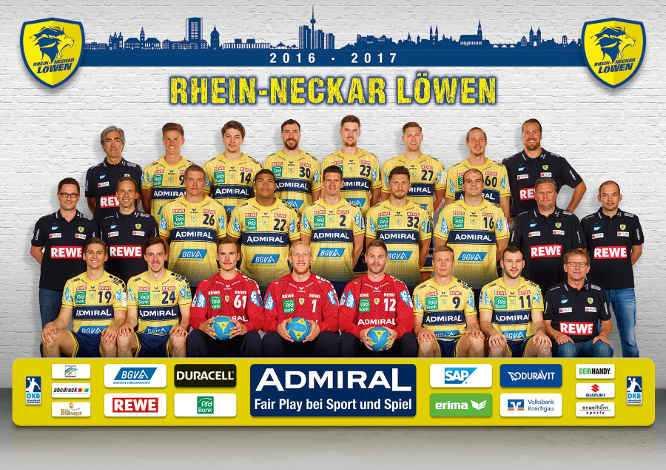 Handball: Rhein-Neckar Löwen: Mannschaftsbild 2016/2017 - Foto: Rhein-Neckar Löwen