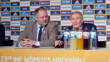 DHB-Präsident Andreas Michelmann und IHF-Präsident Dr. Hassan Moustafa - Handball WM 2017 Deutschland - Abschluss-Pressekonferenz am 17.12.2017 - Foto: SPORT4FINAL