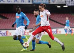Fußball UEFA Europa League - SSC Neapel vs. RasenBallsport Leipzig - Kalidou Koulibaly (Neapel) und Yussuf Poulsen (RB Leipzig) - Foto: GEPA pictures/Sven Sonntag