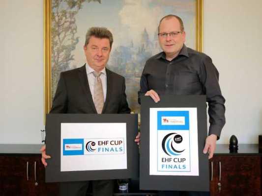 Oberbürgermeister Lutz Trümper, SCM-Geschäftsführer Marc-Henrik Schmedt - Ottostadt Magdeburg EHF Cup Finals 2018 im Mai in GETEC Arena - Foto: Stadt Magdeburg