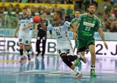 Raul Santos - SC DHfK Leipzig vs. THW Kiel - Handball Bundesliga am 26.04.2018 - Foto: Rainer Justen