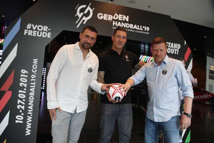 Handball WM 2019: Torsten Mattuschka, Stefan Kretzschmar, Andreas Neuendorf WM-Botschafter Berlin - Foto: Max Menning