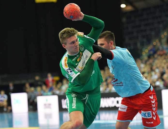 Franz Semper - SC DHfK Leipzig vs. Füchse Berlin - Handball Bundesliga - Arena Leipzig am 28.03.2019 - Foto: Rainer Justen